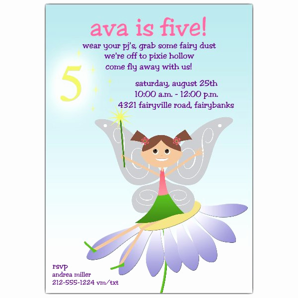5th Birthday Party Invitation Wording Luxury Fairy Fun Brunette 5th Birthday Invitations