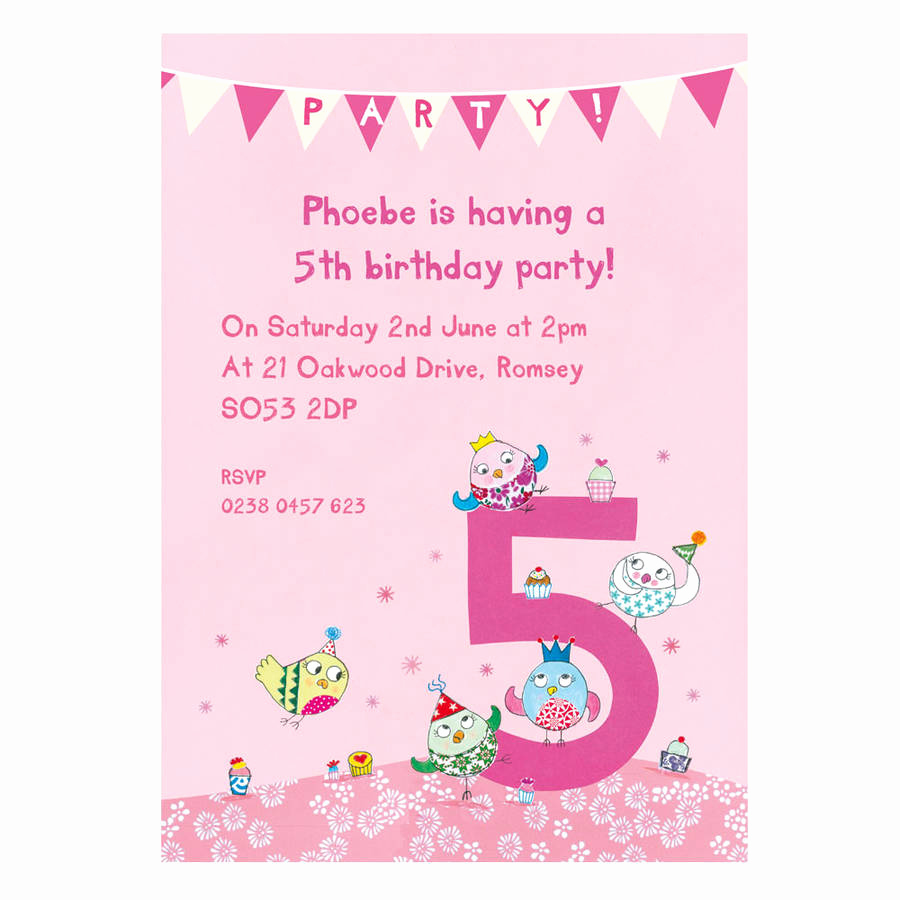 5th Birthday Party Invitation Wording Unique Personalised Fifth Birthday Party Invitations by Made by