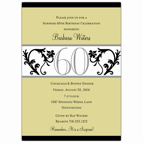 60 Th Birthday Invitation Beautiful Elegant Vine Chartreuse 60th Birthday Invitations