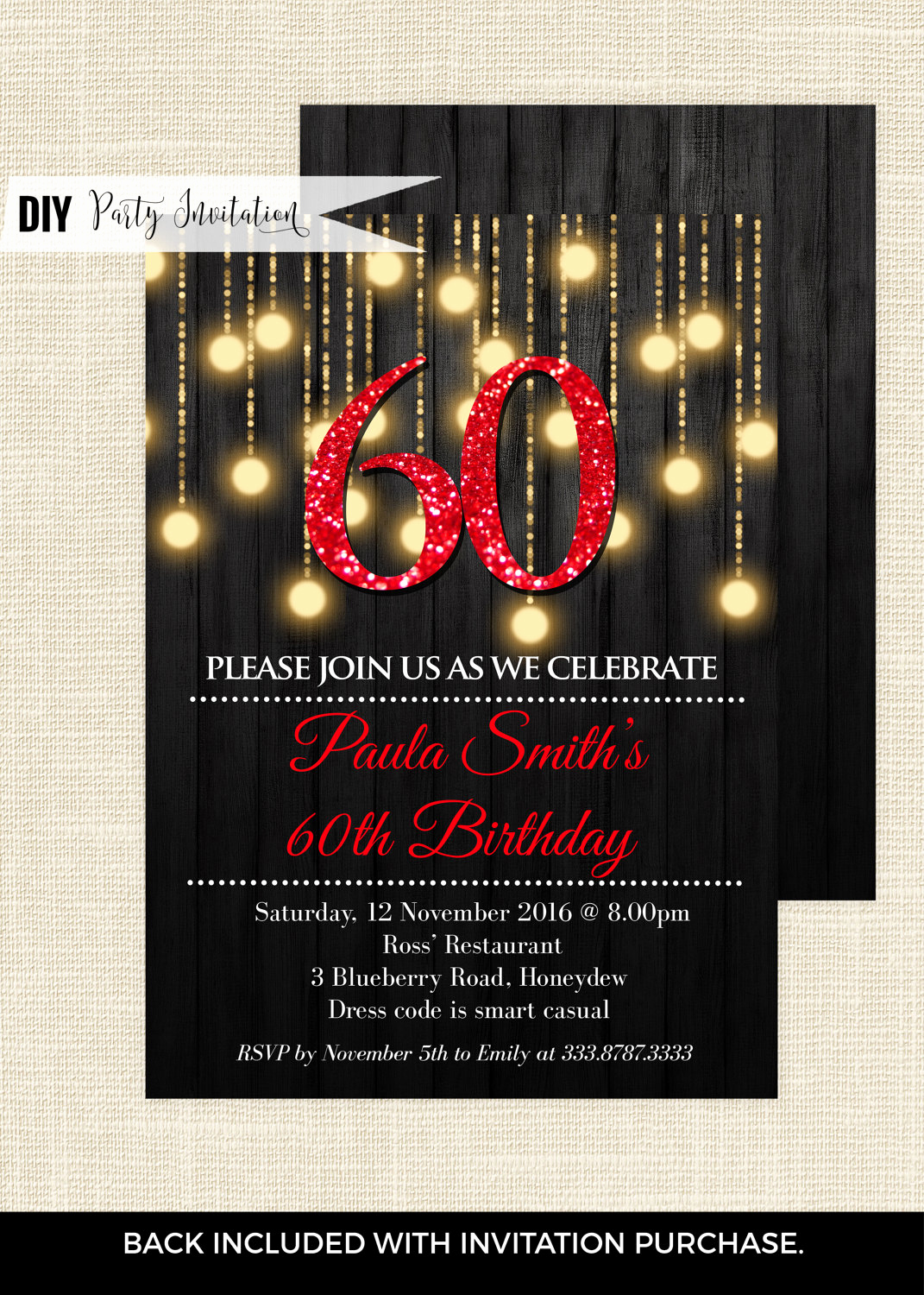 60 Th Birthday Invitation Best Of Red 60th Birthday Invitations 60th Birthday Invitations for