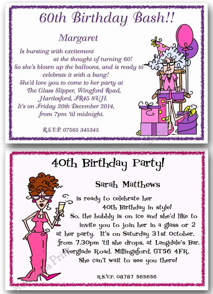 60 Th Birthday Invitation Elegant 30th 40th 50th 60th 70th 80th Personalised Funny Birthday