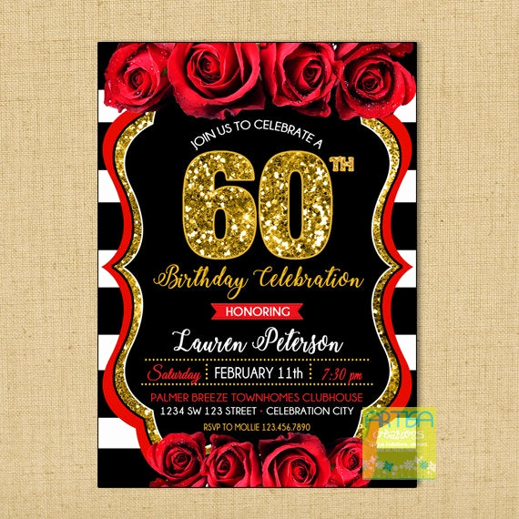 60 Th Birthday Invitation Elegant 60th Birthday Invitation Red Roses 60th Birthday Invitation