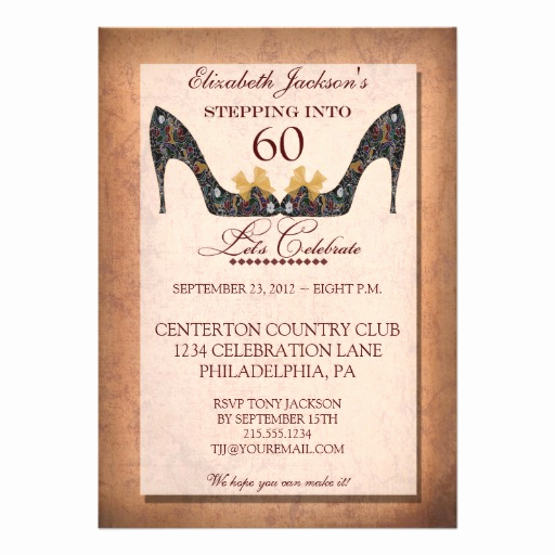 "60 Th Birthday Invitation Elegant Vintage Floral Shoe 60th Birthday Party Invitation 5"" X 7"