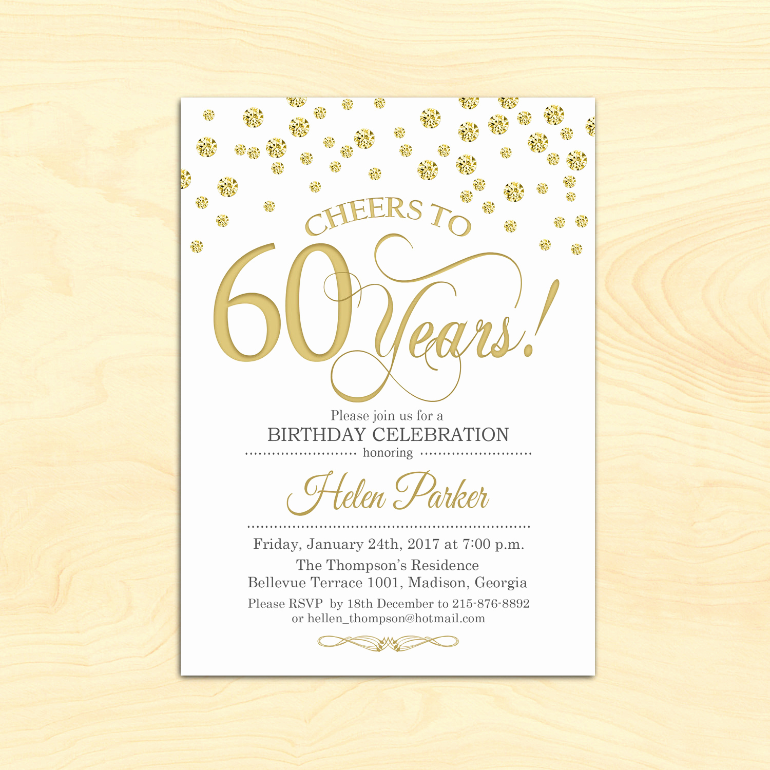 60 Th Birthday Invitation Inspirational 60th Birthday Invitation Any Age Cheers to 60 Years Gold