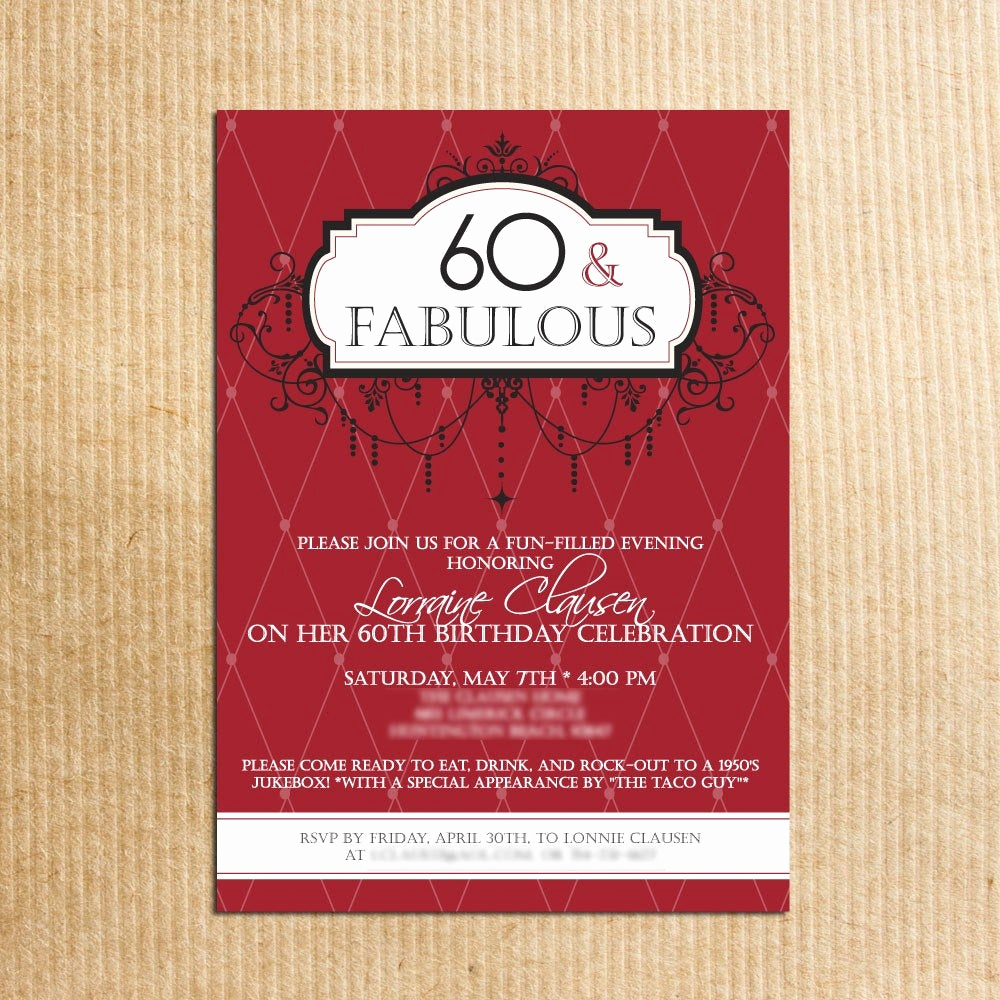 60 Th Birthday Invitation Inspirational Adult 60th Birthday Party Invitations Stationery by