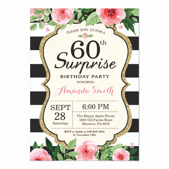 60 Th Birthday Invitation Inspirational Surprise 60th Birthday Invitation Women Floral