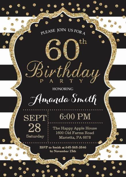 60 Th Birthday Invitation New 60th Birthday Invitation Black and Gold Glitter Card
