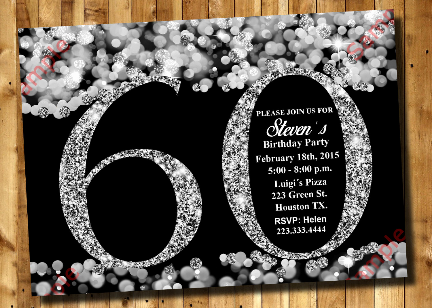 60 Th Birthday Invitation New 60th Birthday Invitation Silver Glitter Invitation Adult