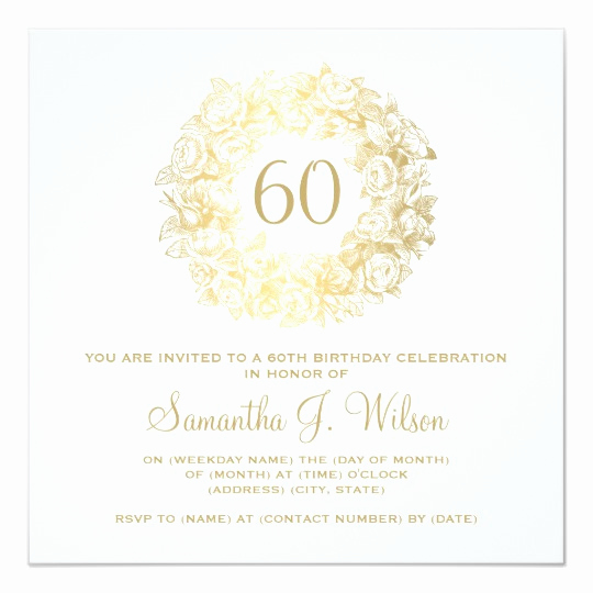 60 Th Birthday Invitation Unique Elegant 60th Birthday Vintage Roses Gold Invitation