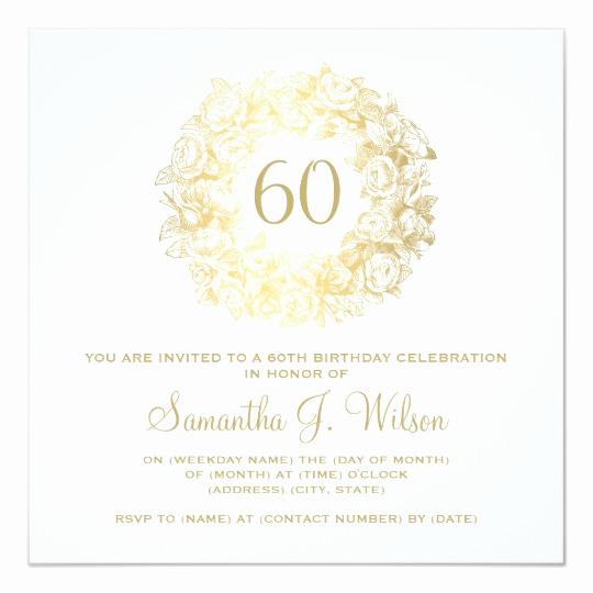 60 Th Birthday Invitation Unique Elegant 60th Birthday Vintage Roses Gold Invitation
