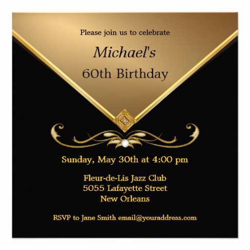 60 Th Birthday Invitation Unique Men S Elegant Gold Black 60th Brithday Invitations