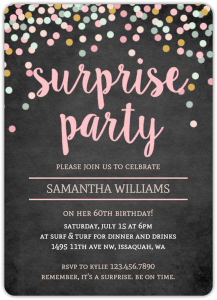 60th Birthday Invitation Ideas Best Of Colorful Confetti Chalkboard Surprise 60th Birthday