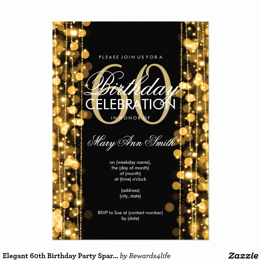 60th Birthday Invitation Ideas Elegant Elegant 60th Birthday Party Sparkles Gold Invitation