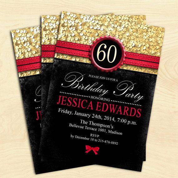 60th Birthday Invitation Ideas Elegant Women 60th Birthday Invitation 70th 80th 90th Any