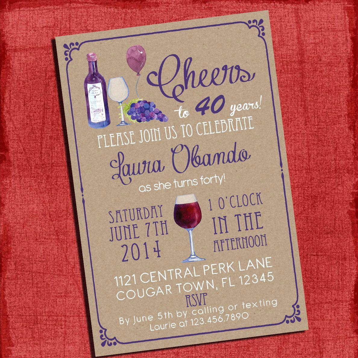 60th Birthday Invitation Ideas Fresh Printable Wine theme 30th 40th 50th 60th Birthday