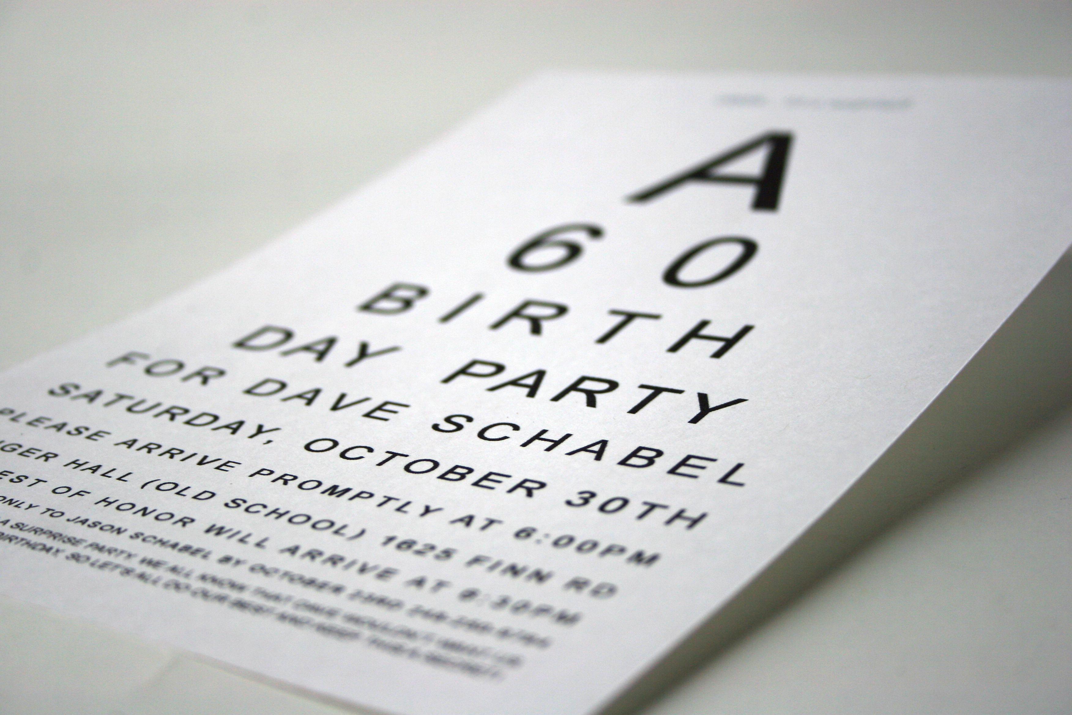 "60th Birthday Invitation Ideas Luxury ""eye Chart"" 60th Birthday Party Invite"