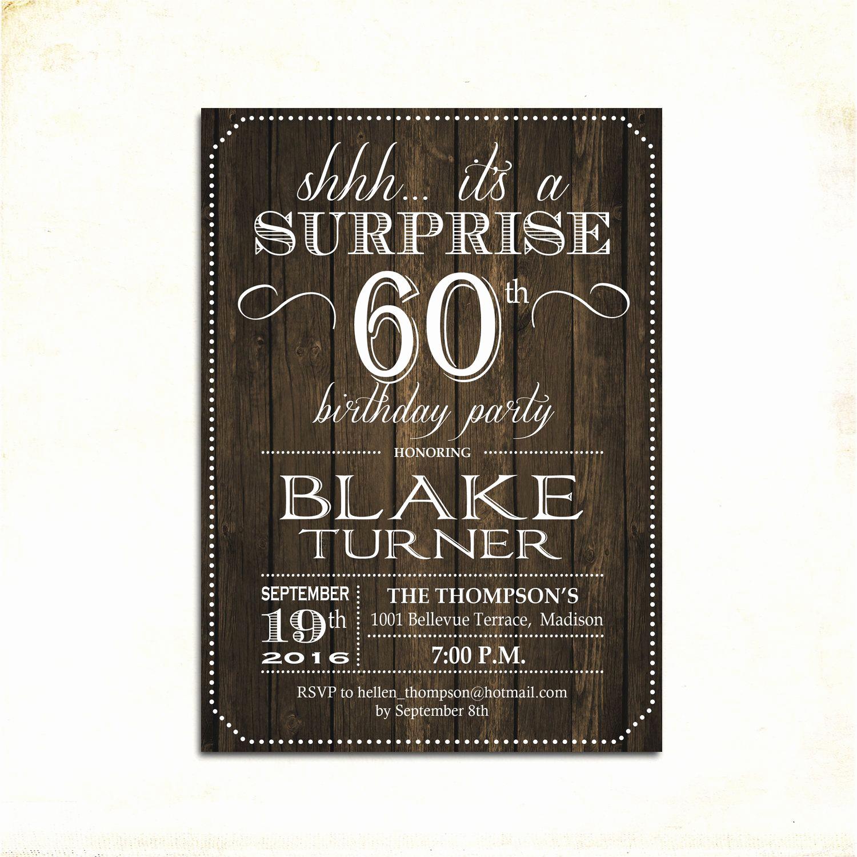 60th Birthday Invitation Ideas Luxury Surprise 60th Birthday Invitation Any Age Rustic