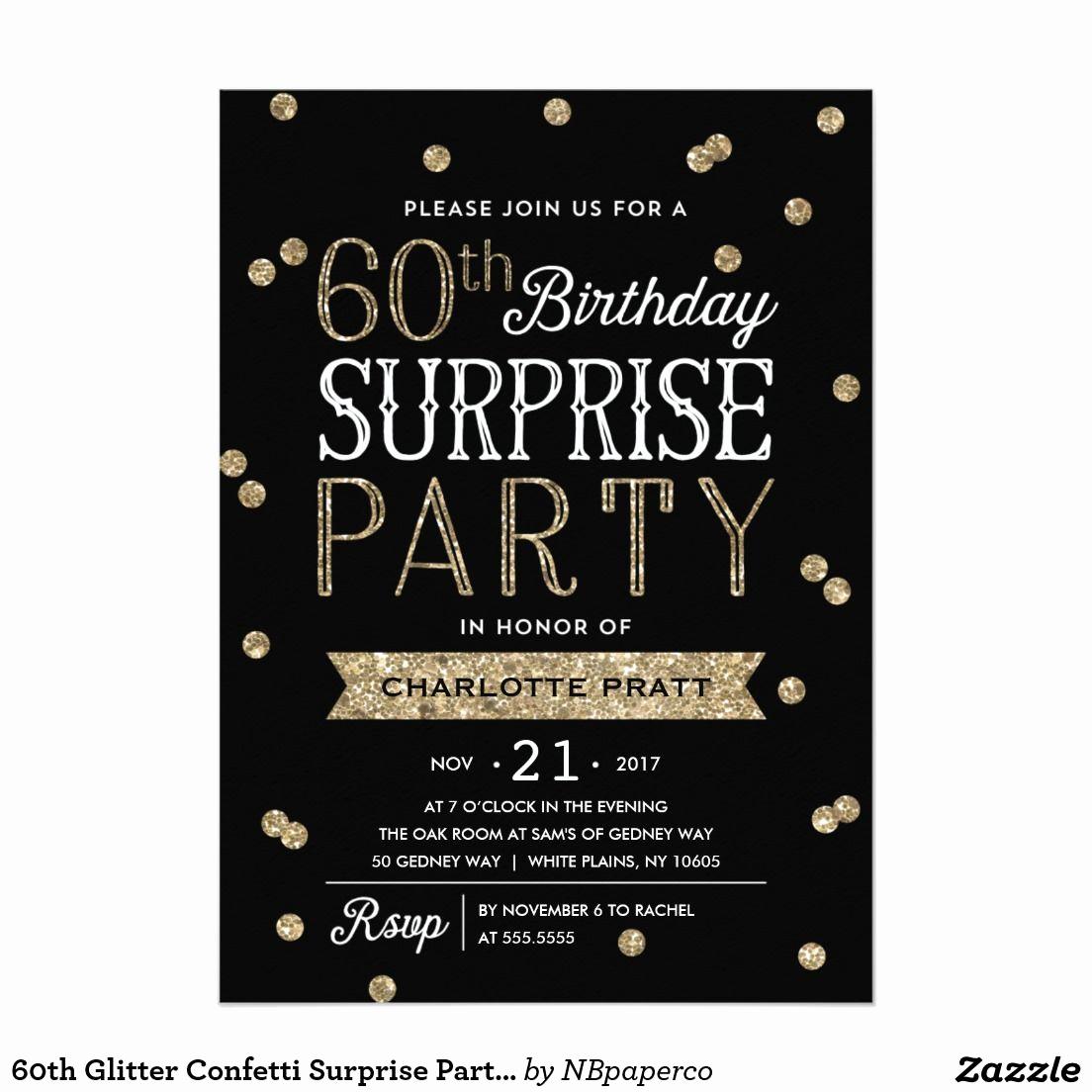60th Birthday Invitation Ideas New 60th Glitter Confetti Surprise Party Invitation