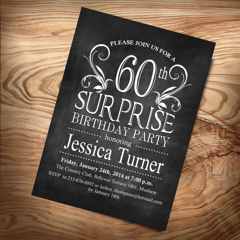 60th Birthday Invitation Ideas New Surprise 60th Birthday Invitation Any Age Digital
