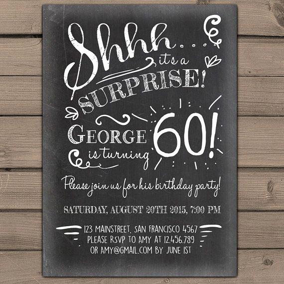 60th Birthday Invitation Ideas New Surprise 60th Birthday Invitation Chalkboard by