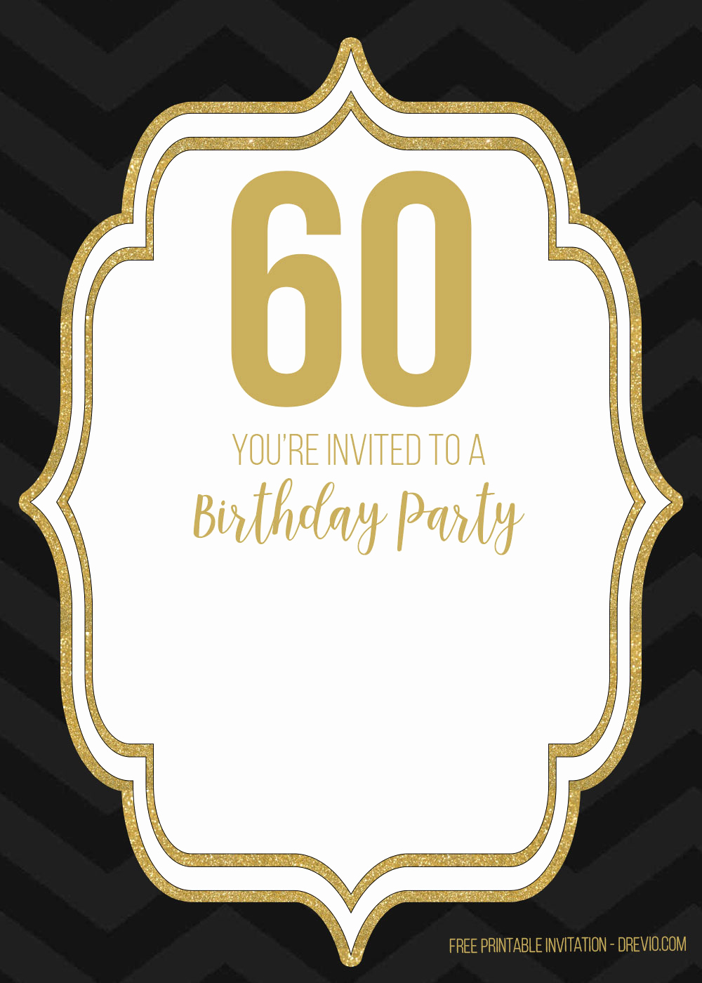 60th Birthday Invitation Template Awesome Free 60th Black Golden Birthday Invitation Templates