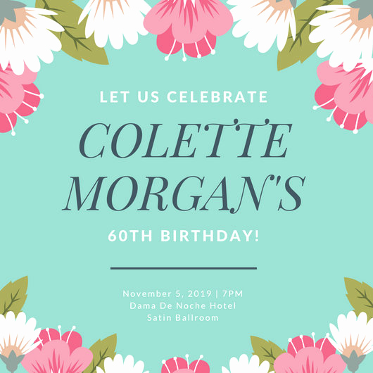 60th Birthday Invitation Template Beautiful 60th Birthday Invitation Templates Canva