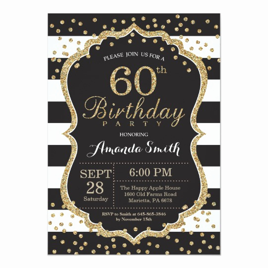 60th Birthday Invitation Template Inspirational 60th Birthday Invitation Black and Gold Glitter Card