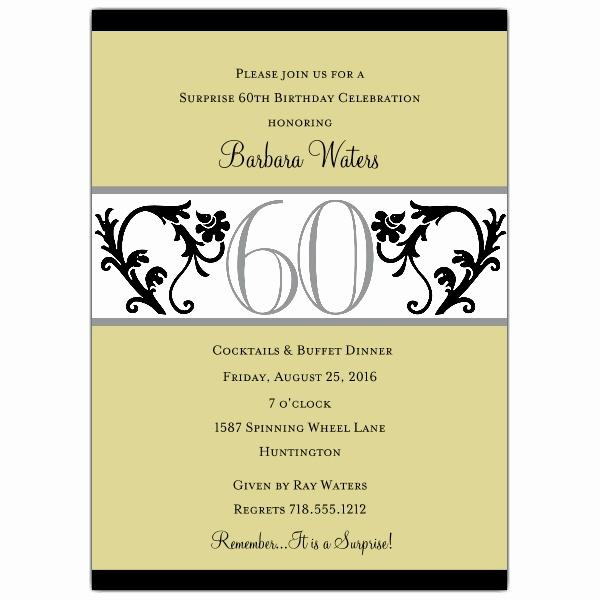 60th Birthday Invitation Wording Awesome Elegant Vine Chartreuse 60th Birthday Invitations