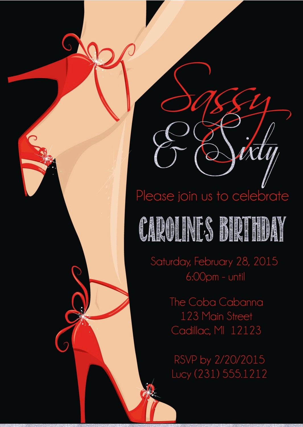 60th Birthday Invitation Wording Awesome Red Shoe 60th Birthday Invitation Women S Sassy & Sixty