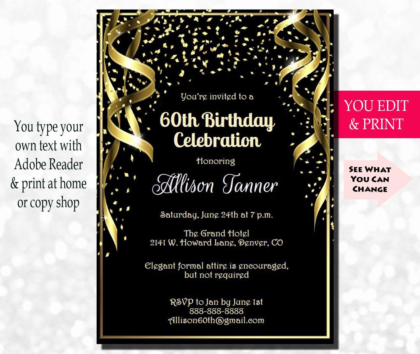 60th Birthday Invitation Wording Fresh 60th Birthday Invitation 60th Birthday Party Invitation 60th