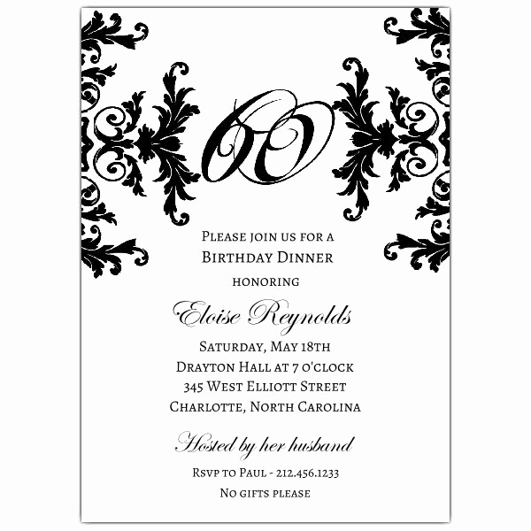 60th Birthday Invitation Wording Fresh Black and White Decorative Framed 60th Birthday