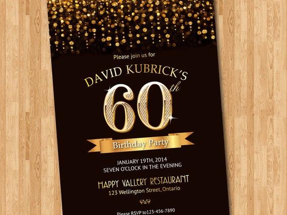 60th Birthday Invitation Wording Inspirational 60th Birthday Invitation Gold Glitter Diamond Number Birthday