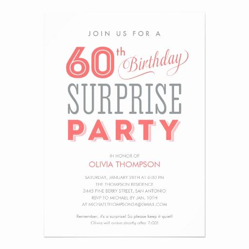 60th Birthday Invitation Wording Lovely 60th Surprise Birthday Invitations