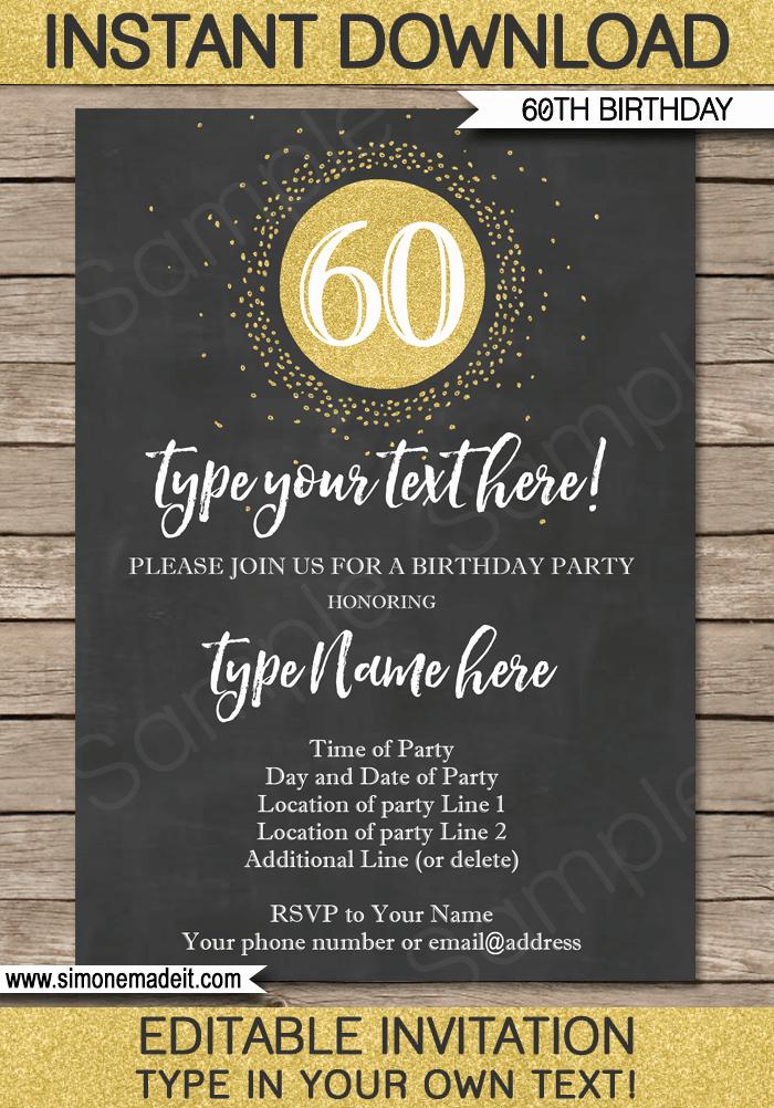 60th Birthday Invitation Wording Lovely Chalkboard 60th Birthday Invitations Template