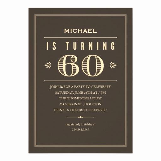 "60th Birthday Invitation Wording Luxury 60th Birthday Invitations for Men 5"" X 7"" Invitation Card"