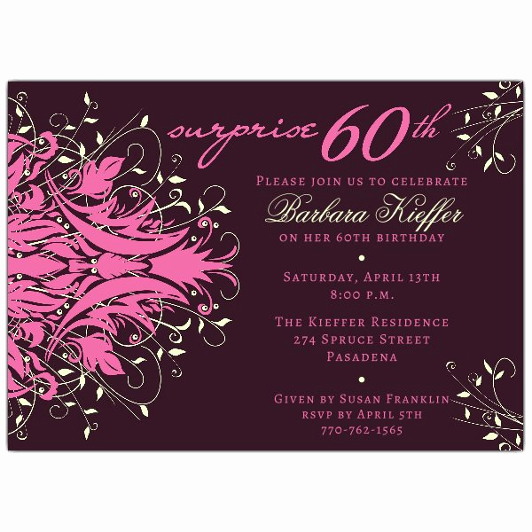 60th Birthday Invitation Wording Unique andromeda Pink Surprise 60th Birthday Invitations