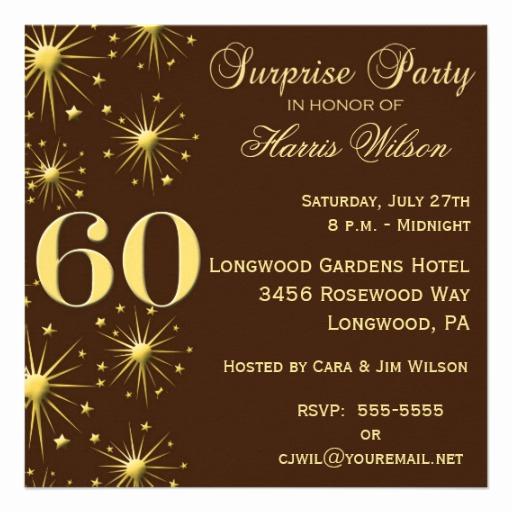 "60th Birthday Invitation Wording Unique Sparkling Surprise 60th Birthday Invitations 5 25"" Square"