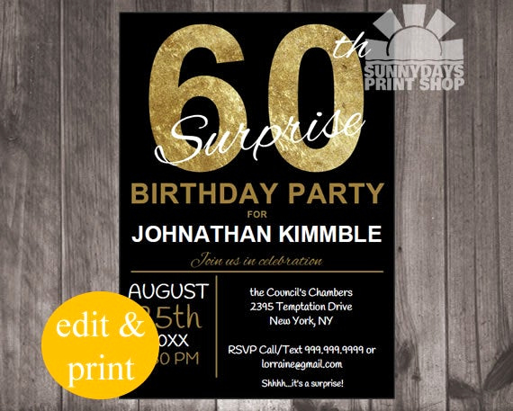 60th Birthday Party Invitation Wording Fresh 60th Surprise Birthday Invitation Instant by