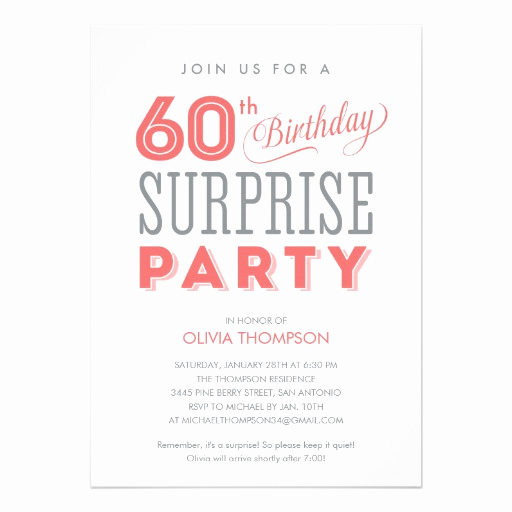 60th Birthday Party Invitation Wording Fresh 60th Surprise Birthday Invitations