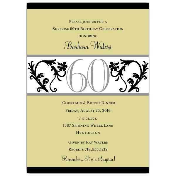 60th Birthday Party Invitation Wording Lovely Elegant Vine Chartreuse 60th Birthday Invitations