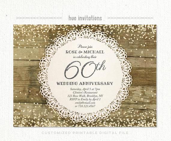 60th Wedding Anniversary Invitation Wording Awesome 60th Wedding Anniversary Invitation Diamond Glitter Silver