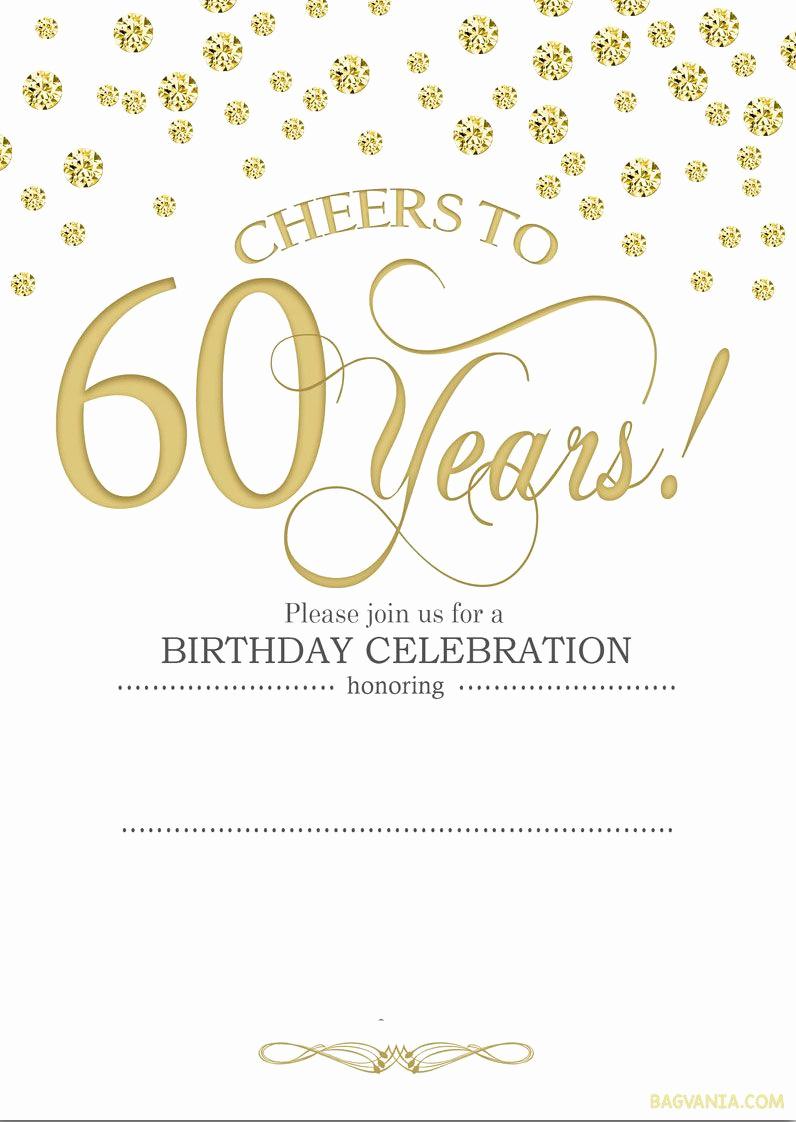 60th Wedding Anniversary Invitation Wording Awesome Free Printable 60th Birthday