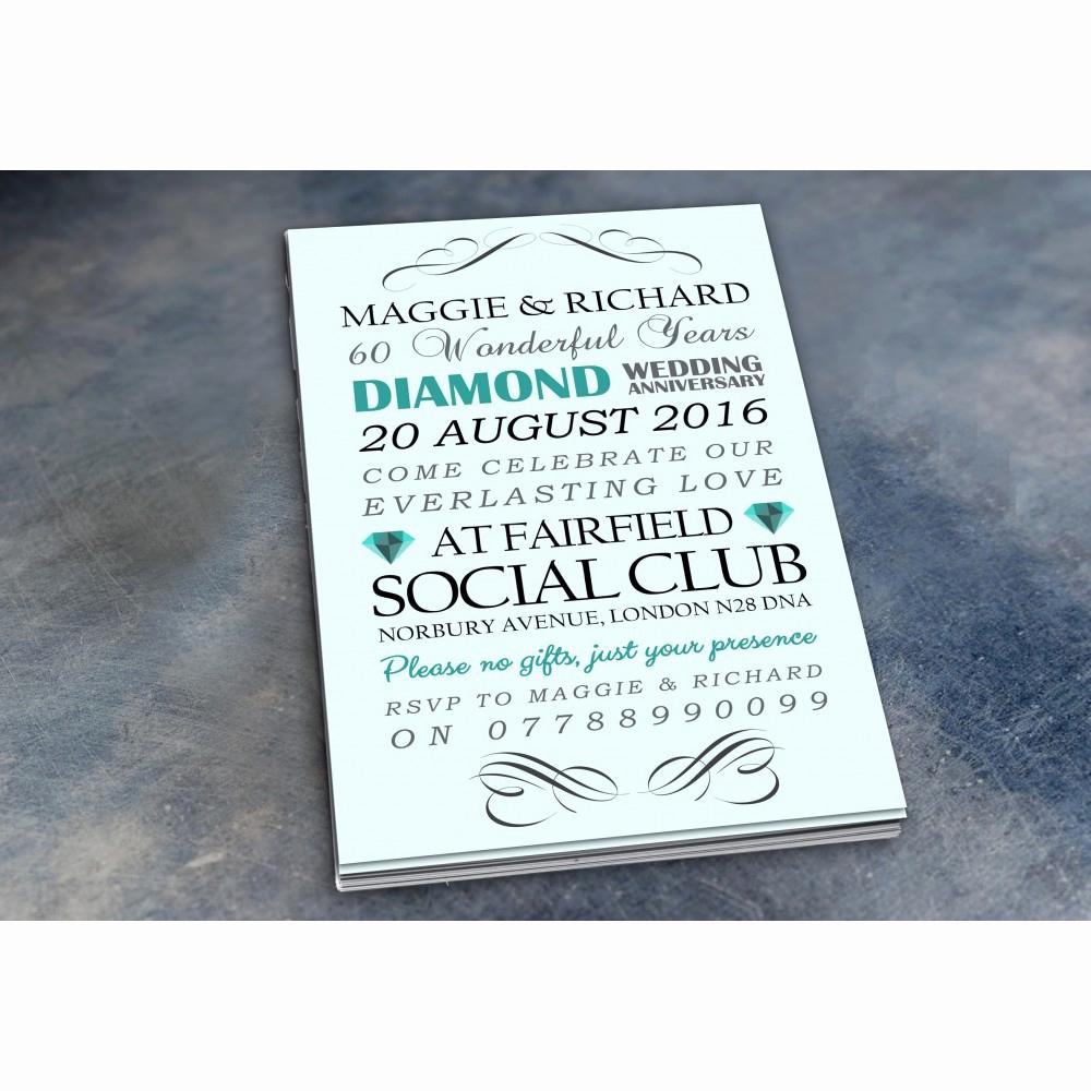 60th Wedding Anniversary Invitation Wording Best Of 60th Diamond Wedding Anniversary Invitations