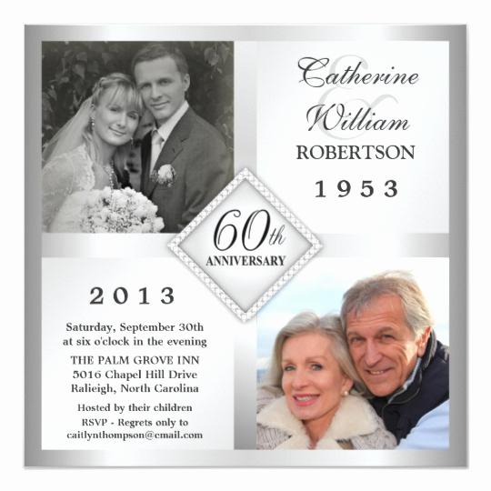 60th Wedding Anniversary Invitation Wording Best Of 60th Silver Diamond Anniversary Invitations