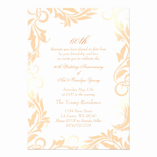 "60th Wedding Anniversary Invitation Wording Elegant Peach Swirl 60th Wedding Anniversary Invitation 5"" X 7"