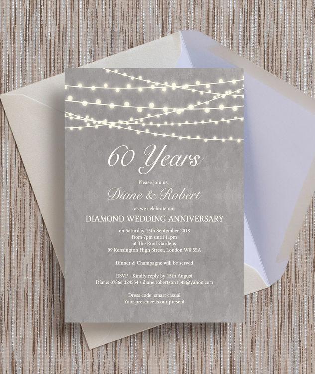 60th Wedding Anniversary Invitation Wording Fresh Grey Fairy Lights 60th Diamond Wedding Anniversary