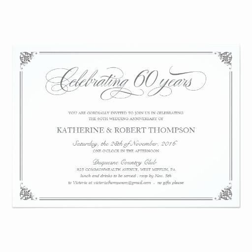 60th Wedding Anniversary Invitation Wording Inspirational formal 60th Anniversary Invitation Card