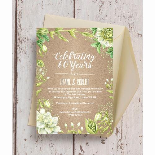 60th Wedding Anniversary Invitation Wording Lovely Personalised 60th Diamond Wedding Anniversary Invitations