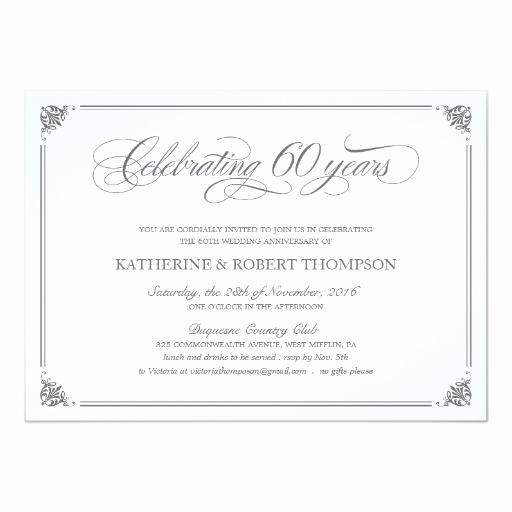 60th Wedding Anniversary Invitation Wording Unique formal 60th Anniversary Invitations
