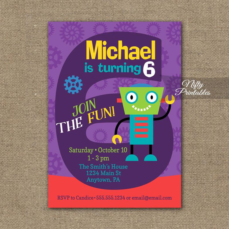 6th Birthday Invitation Wording Beautiful 6th Birthday Invitation Boys Robot Invitation Nifty